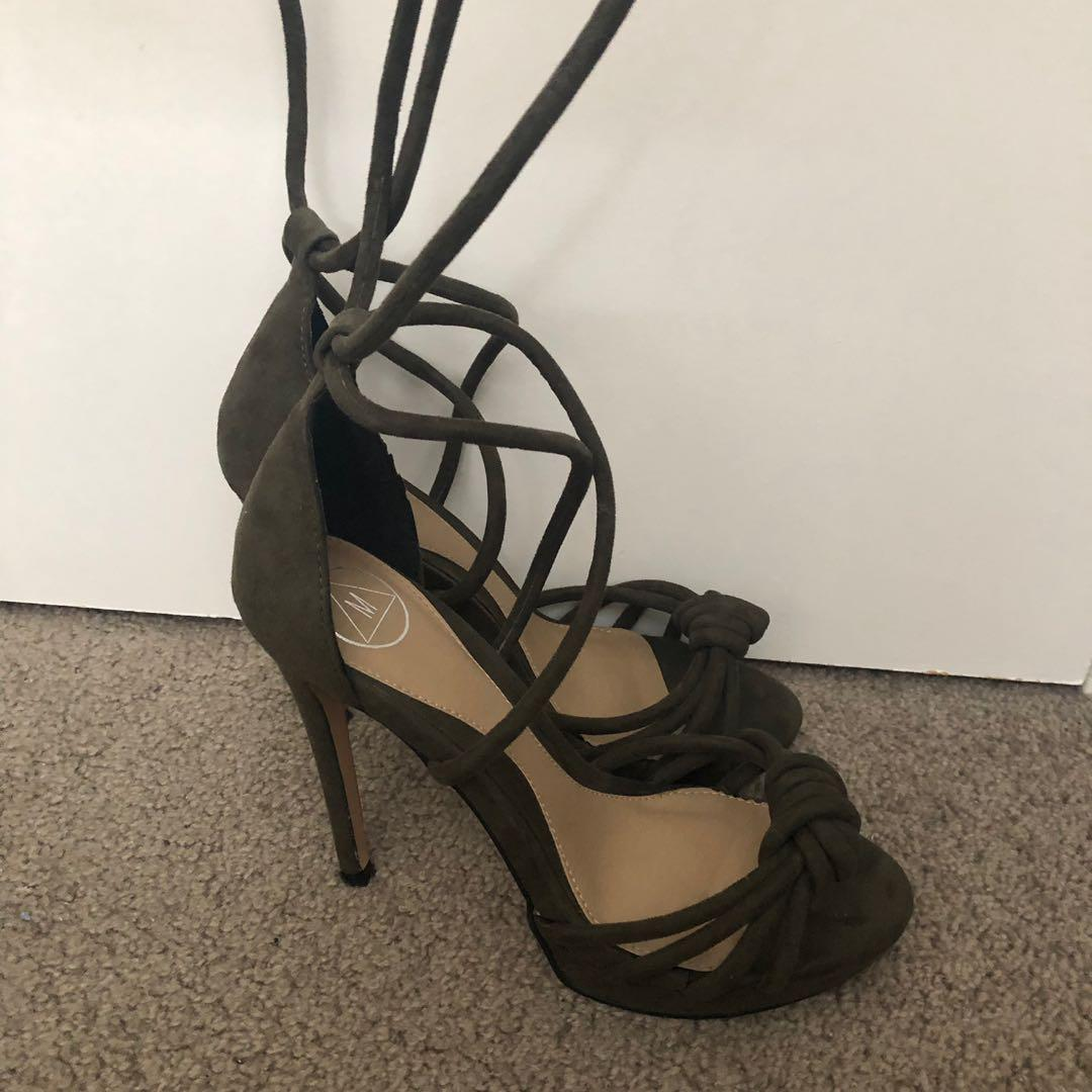 Khaki Tie-up Strappy Heels