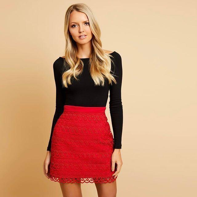 Kookai lily lace red skirt in 38 - brand new with tags