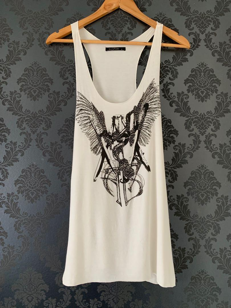 Le Franki singlet top dress - white with embellishments
