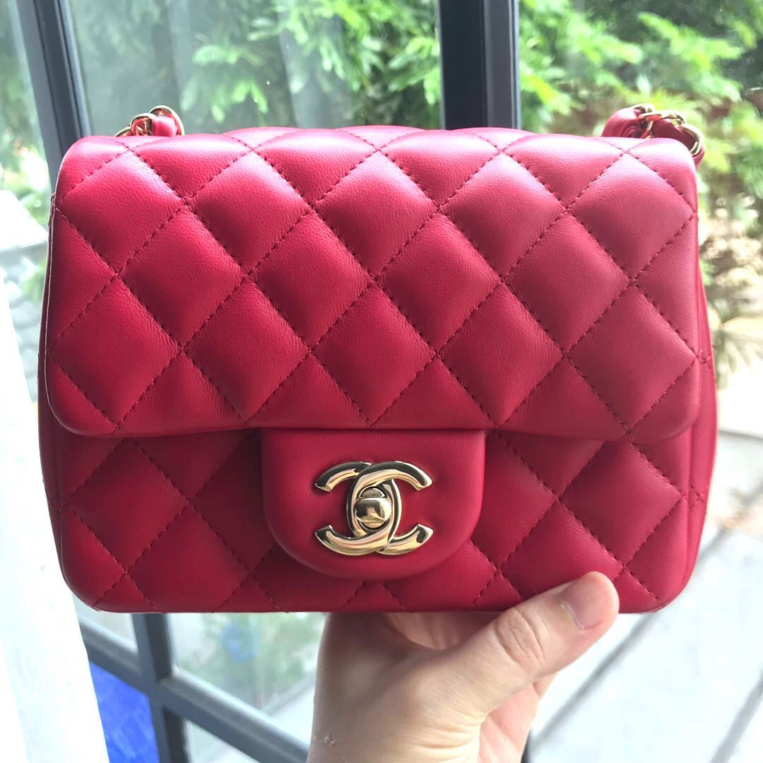 798c1d02ceaa Like New Chanel Square Mini in Fuchsia, Luxury, Bags & Wallets ...