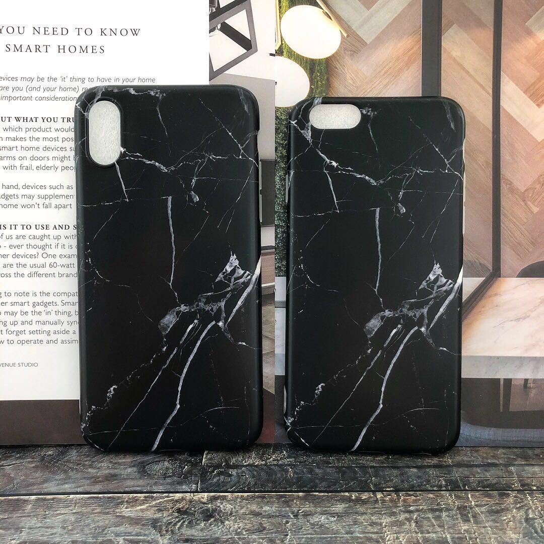 the best attitude 38a5f 3d7bb Matte Black Marble Design iPhone Case
