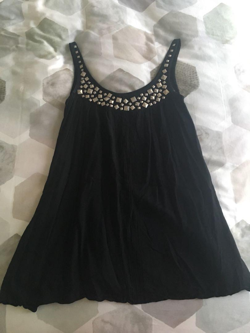 Maurie and Eve Platinum black swing dress with stud detail