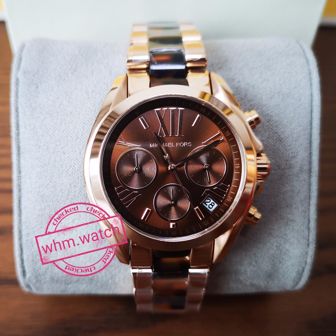 a10eed24435 MICHAEL KORS Bradshaw Chronograph Brown Dial Rose Gold-tone and ...