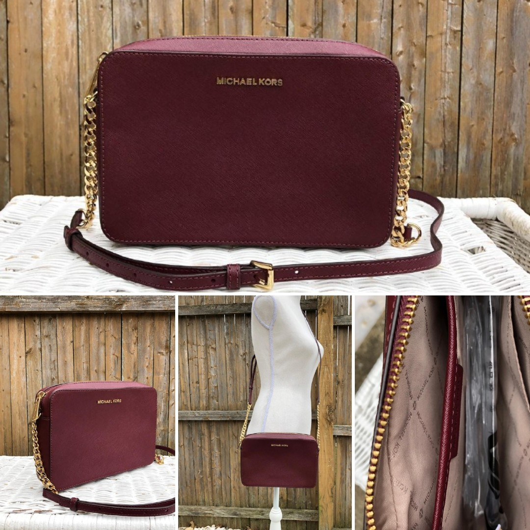 e79deaaef2ac57 Michael Kors Jet Set Item Large EW Crossbody in Merlot /Black Ready ...