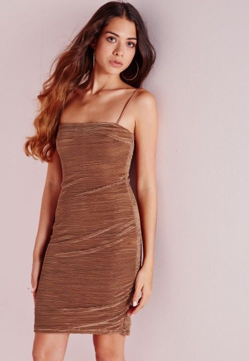 20be5c687641 MISSGUIDED Pleated bodycon dress - Mocha, Women's Fashion, Clothes ...