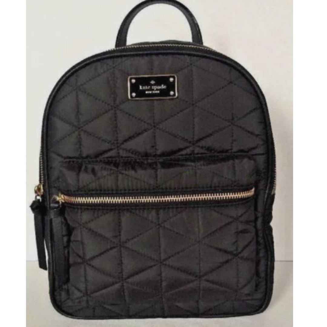New Kate Spade small Bradley Wilson Road Nylon Backpack handbag Black Quilted