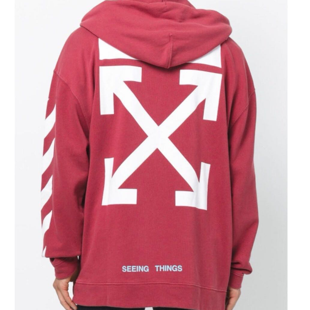 1229fffc Off White Diagonal Arrow Oversized Hoodie, Men's Fashion, Clothes ...