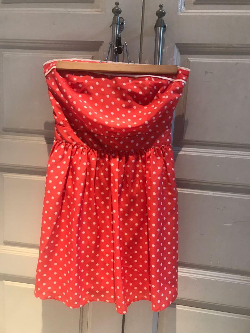 15932cef6 Orange Polka Dot Tube Dress With Bow At Back
