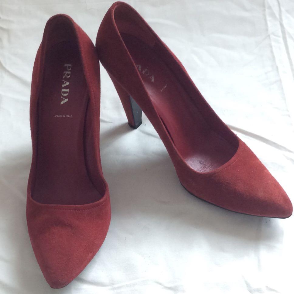 Prada red suede heels, Women's Fashion