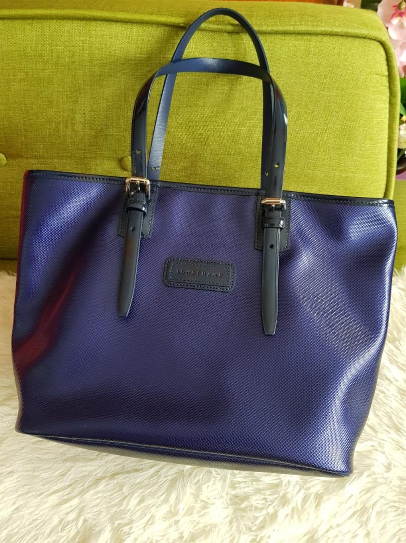 7e6b65dbe85f REDUCED) Authentic Longchamp Metallic blue sheen color handbag ...