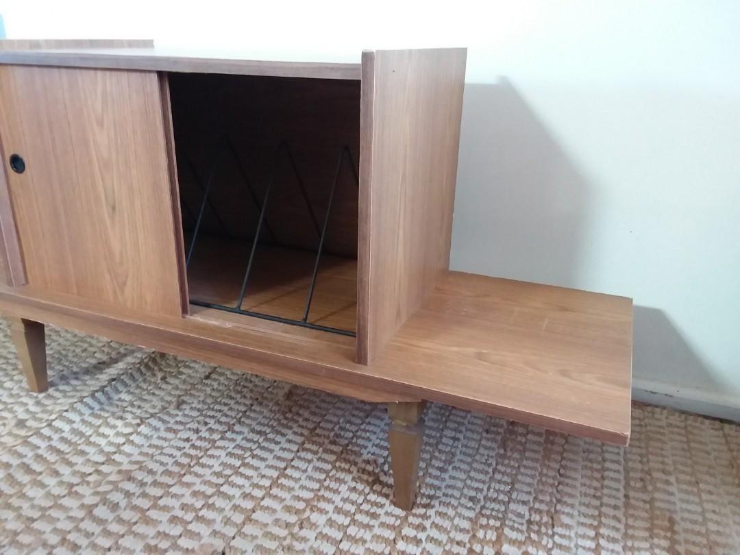 Retro Vinyl Record Player Stereo Cabinet with Dividers Hifi