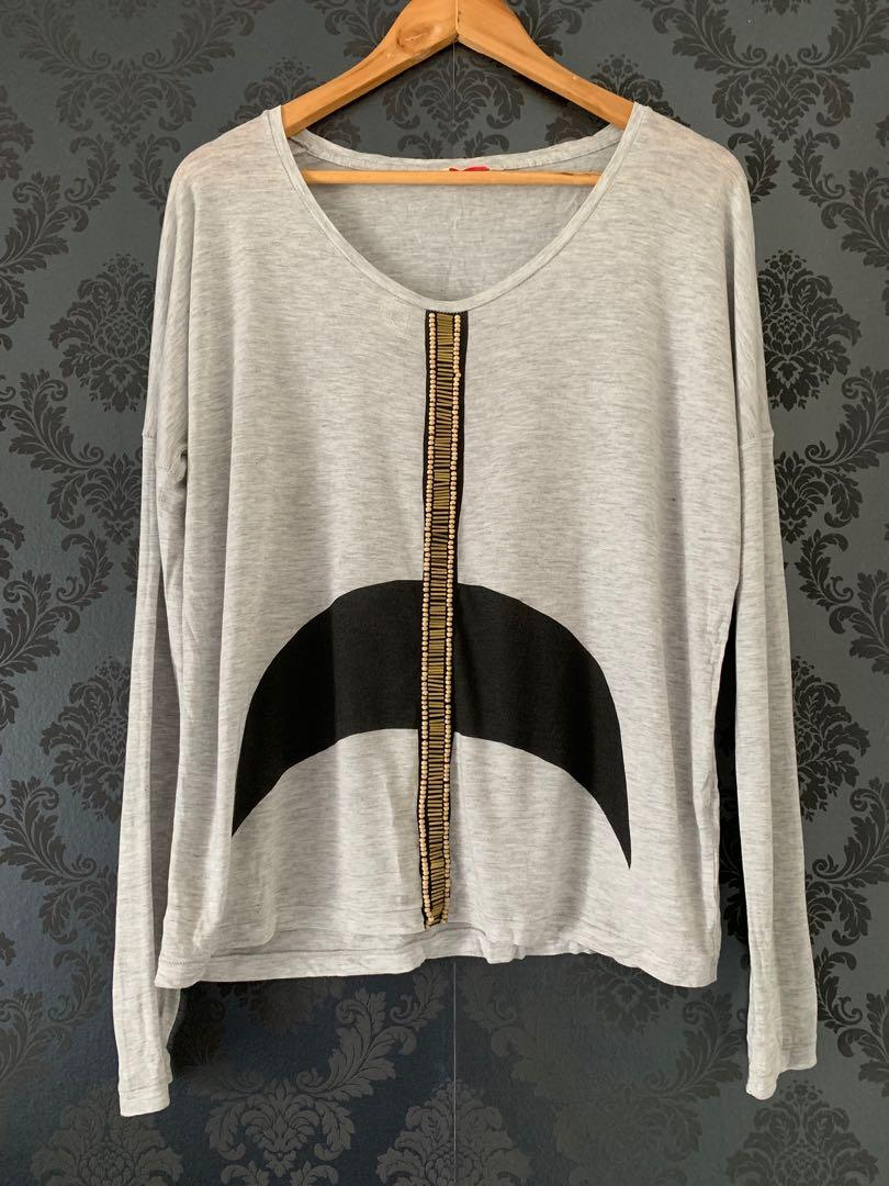 Sass & Bide Future of Now embellished grey long sleeve top with metal and wood