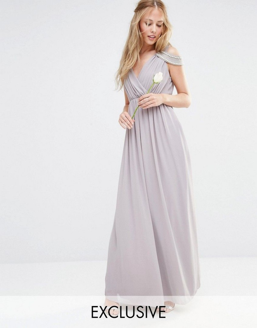 af67c1891659 Asos Tfnc Lace Up Back Maxi Bridesmaid Dress - raveitsafe
