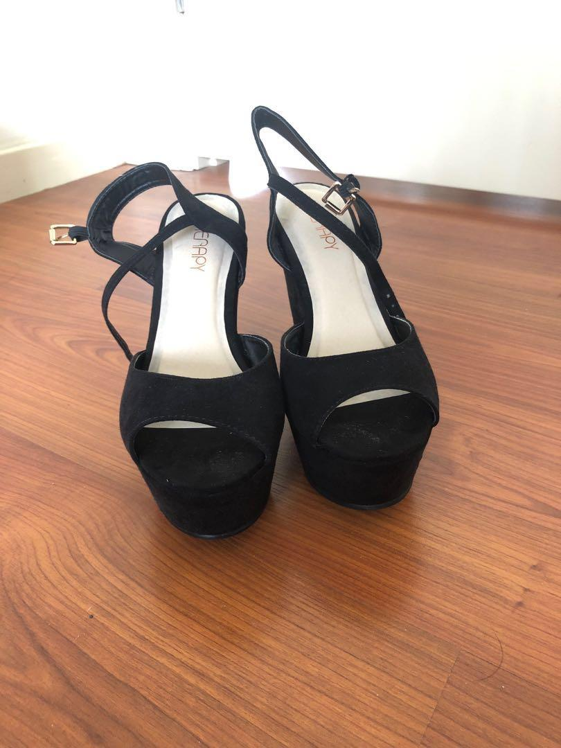 Therapy Shoes Black Suede Chunky Platform Wedge Geometric High Heels