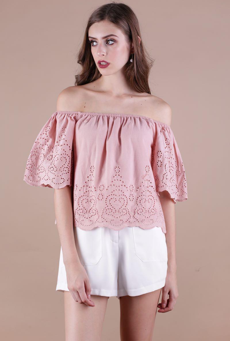 b17254807037dc TTR Camille Eyelet Off Shoulder Top (Dusty Blush), Women's Fashion ...