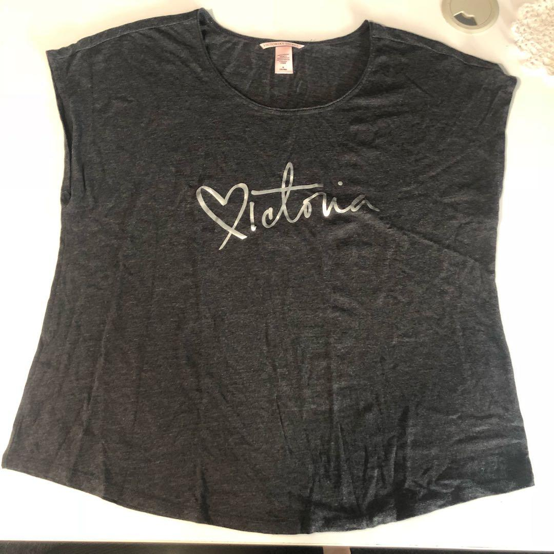 VS VICTORIA'S SECRET DARK GREY LOUNGEWEAR/PAJAMA TOP SIZE MEDIUM