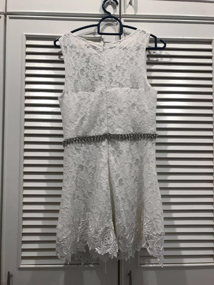 White Lace Diamond Romper Jumpsuit