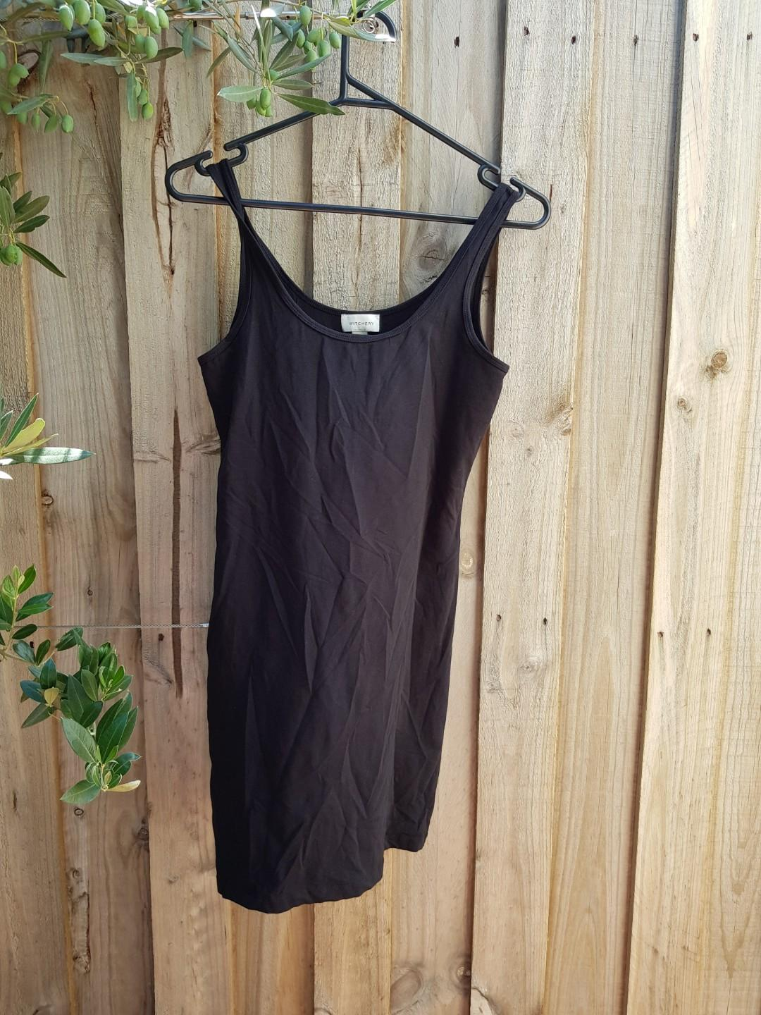 WITCHERY black singlet mini dress. XS