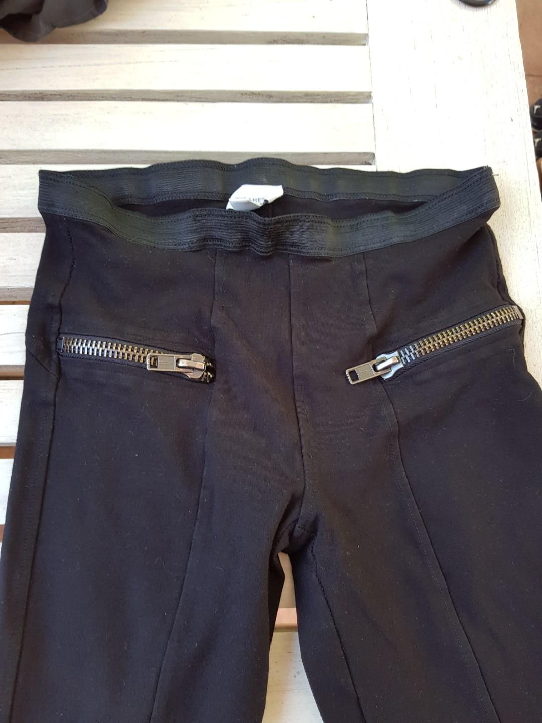 Witchery ponte black pant with zip detail. Size 8.