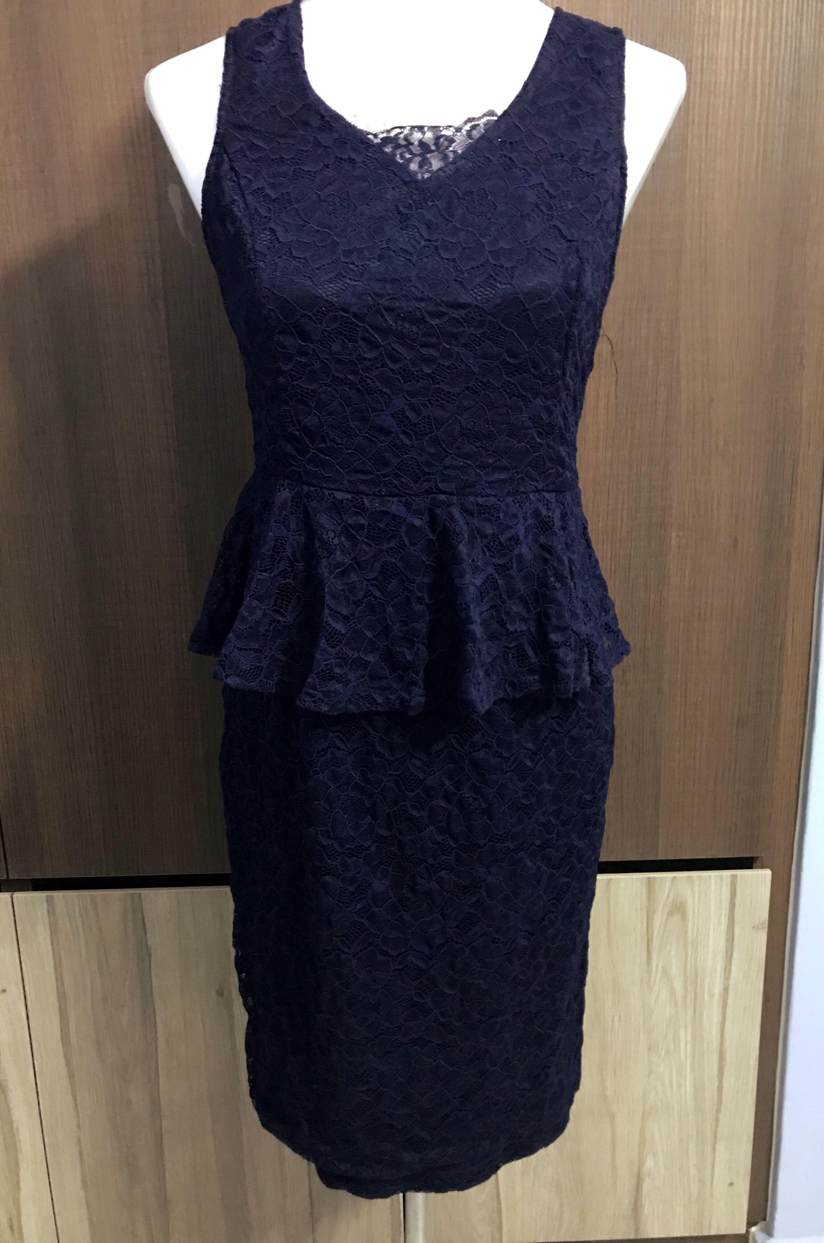 4efbbcd764 Zalora Lace peplum dress - Navy