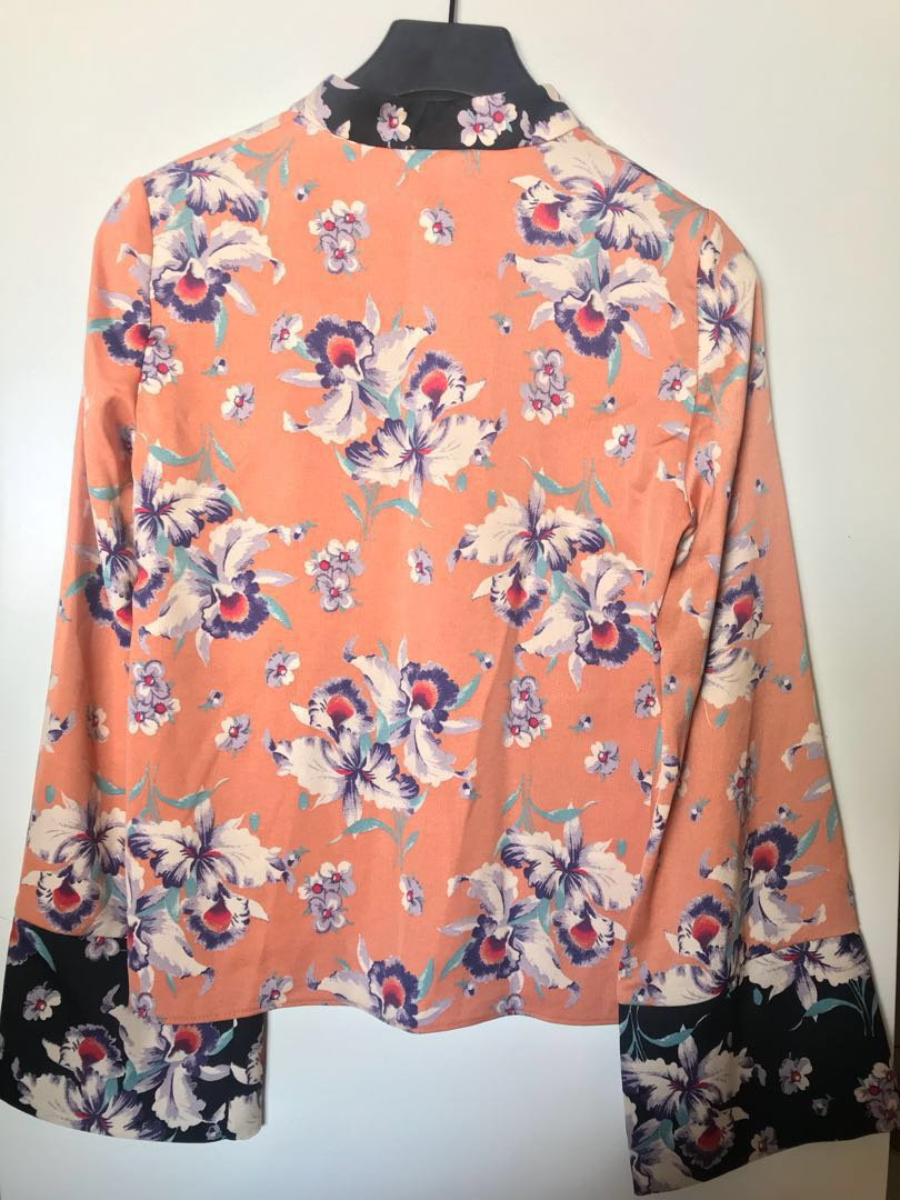 dc78854bf ZARA Cheongsam Floral Top (never worn), Women's Fashion, Clothes, Tops on  Carousell