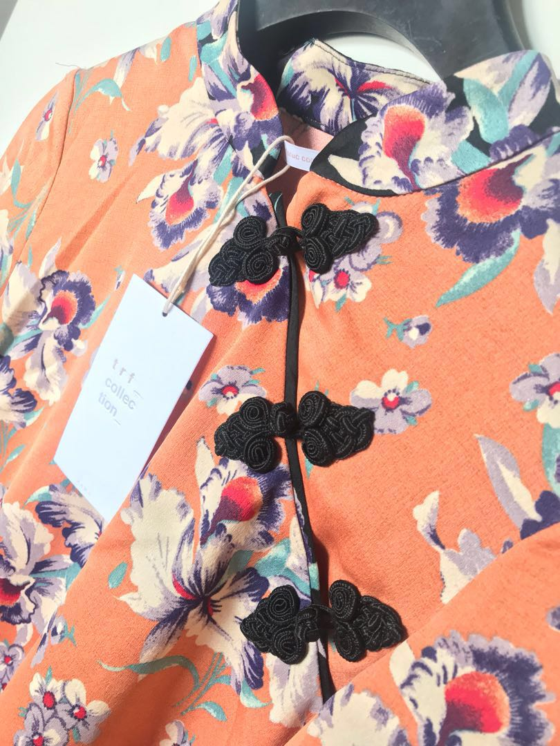 fdb0b37ee ZARA Cheongsam Floral Top (never worn), Fesyen Wanita, Pakaian, Tops di  Carousell