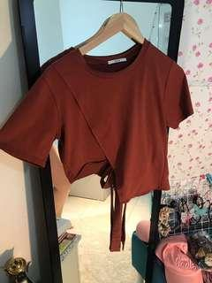 CNY sale- maroon red/brown top with ribbon design