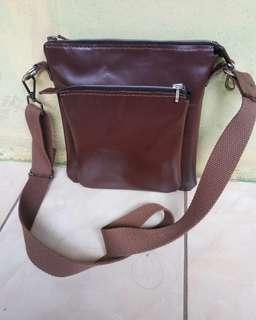 Tas selempang full kulit,tali katun (handmade)