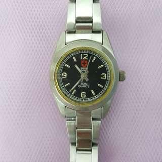 鋼殼黑面不脱色鋼錶帶女裝石英手錶