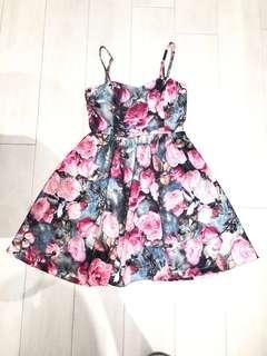 Floral sweet heart bustier dress