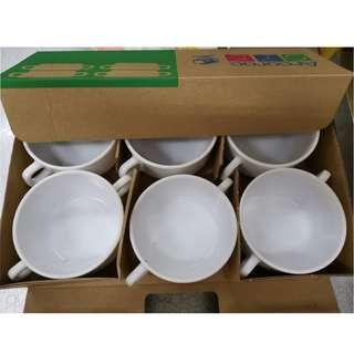 Arcoroc Restaurant Tableware White Soup Bowl with Handle (Set of 6)