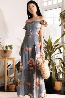 🚚 The Style Soiree Vanna OffShoulder Floral blue Grey Maxi Dress