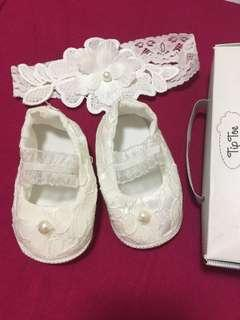 Baptismal Baby Shoes & Hair-dress