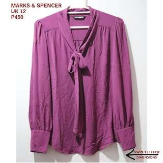 Marks & Spencer Purple Pussybow Top