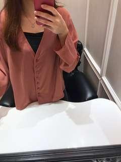 🚚 V領排釦寬袖襯衫外套