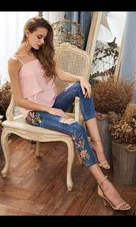 Hailee Floral Embroidered Jeans