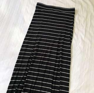 Topshop Striped Navy Cut Away Skrit