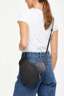 Round Crossbody Bag Black Mickey Ears by Typo