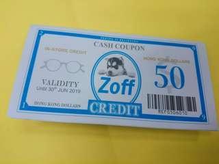 Zoff日本品牌眼鏡50元代用券