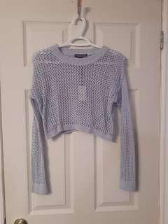 Blue crop top with tags