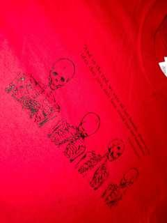 Red Cropped Skeleton Quote T-Shirt