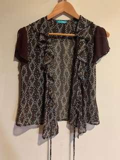 Unica Hija Sheer Blouse with ruffled sleeves