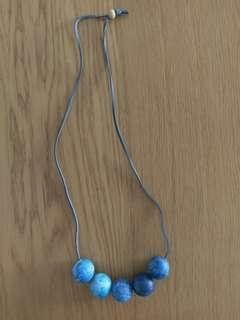 Blue wood bead necklace