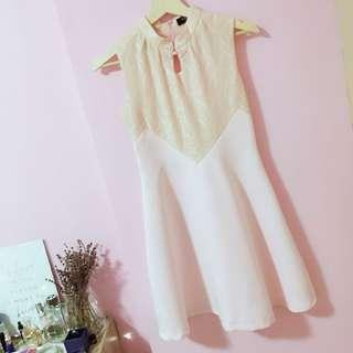 SOFT BABY PINK CHINESE KNOT COLLAR DRESS