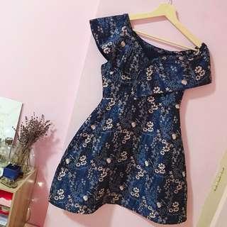 BLUE FLOWER PRINTS OFF SHOULDER DRESS