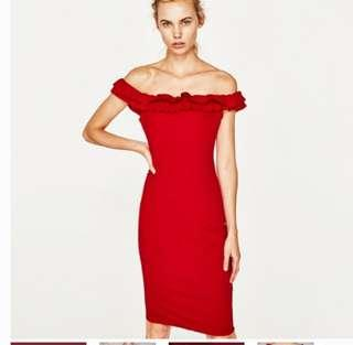 Zara off the shoulder red dress/ size small