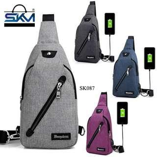 Canvas Crossbody Shoulder Bags With USB Charging Port