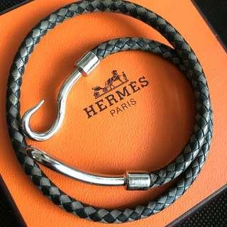 Hermes braided leather hook bracelet or choker. Beautiful piece