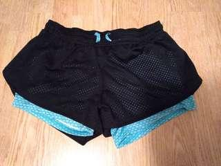 athletic shorts (black+lightblue)