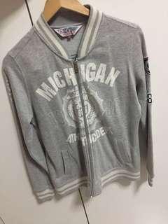 Varsity baseball high school style grey jacket